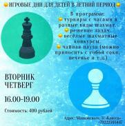 Шахматы. Игровые дни для детей в летний период. постер плакат