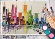 "Мастер-класс по рисованию картины ""Мегаполис"" (холст 30х40, акрил) постер плакат"