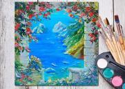 """Мастер-класс по рисованию картины """"Окно в средиземноморье"""" (холст, акрил) постер плакат"""